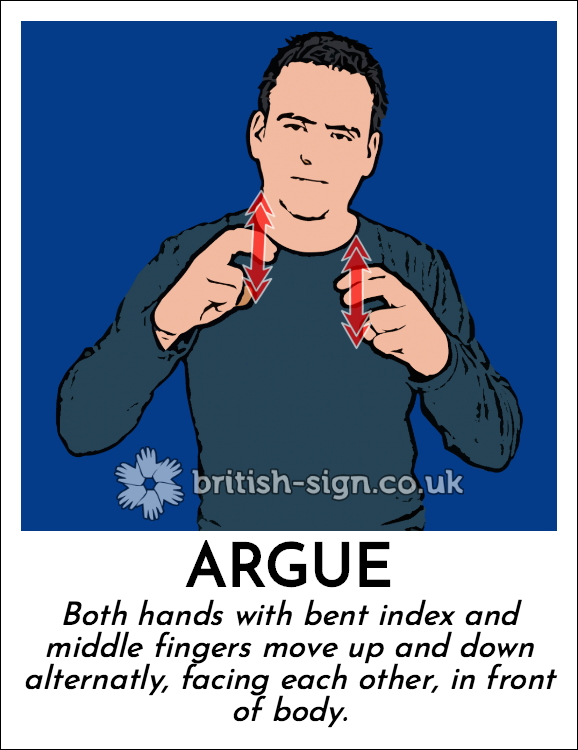 Argue: Both hands with bent index and middle fingers move up and down alternatly, facing each other, in front of body.