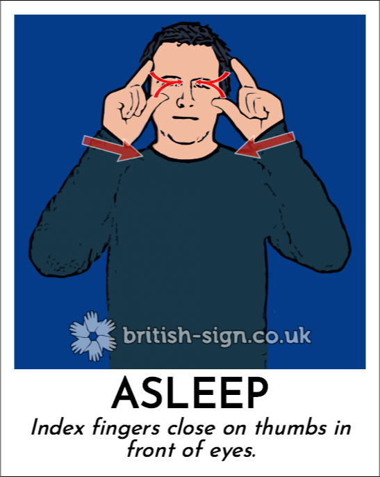 Asleep: Index fingers close on thumbs in front of eyes.