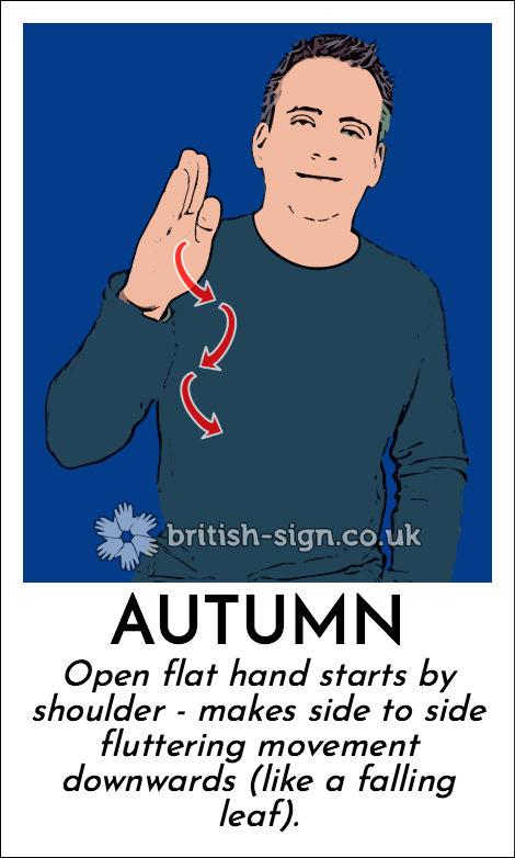 Autumn: Open flat hand starts by shoulder - makes side to side fluttering movement downwards (like a falling leaf).