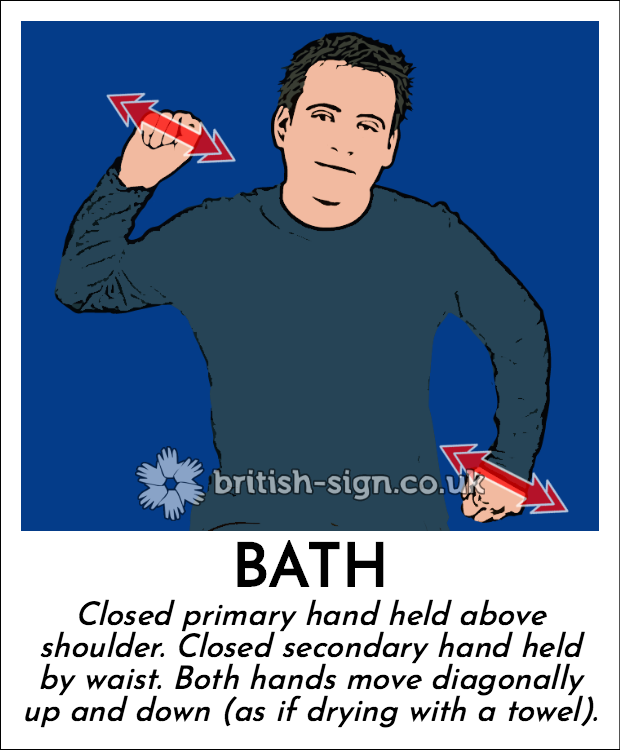 Bath: Closed primary hand held above shoulder.  Closed secondary hand held by waist.  Both hands move diagonally up and down (as if drying with a towel).