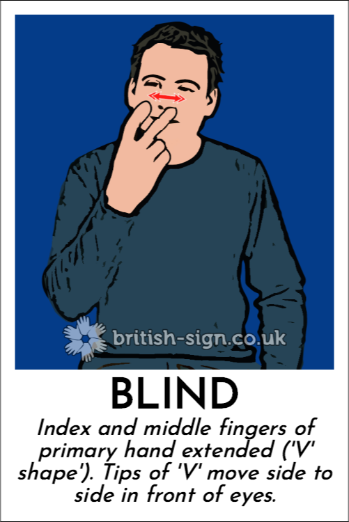 Blind: Index and middle fingers of primary hand extended ('V' shape').  Tips of 'V' move side to side in front of eyes.