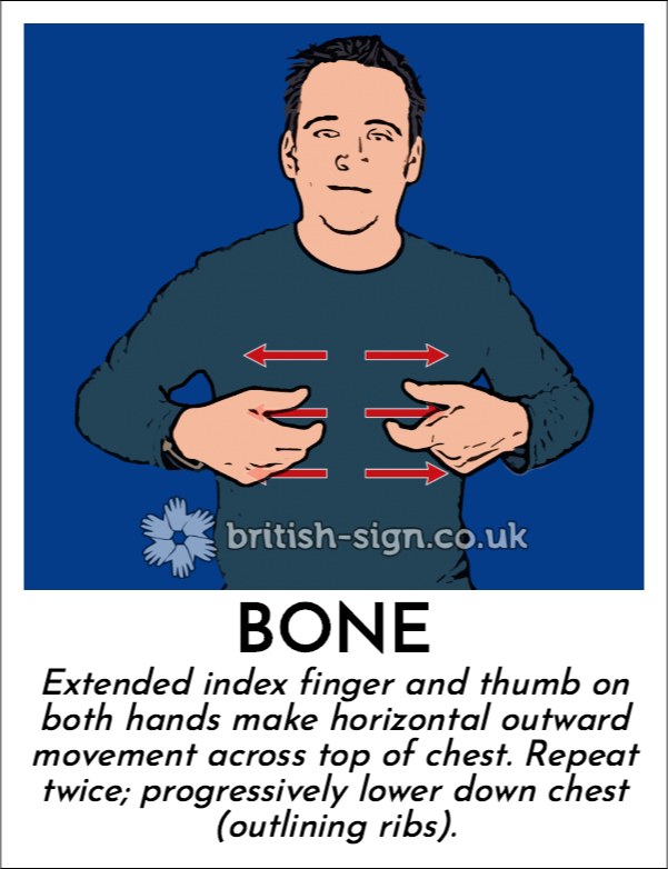 Bone: Extended index finger and thumb on both hands make horizontal outward movement across top of chest. Repeat twice; progressively lower down chest (outlining ribs).