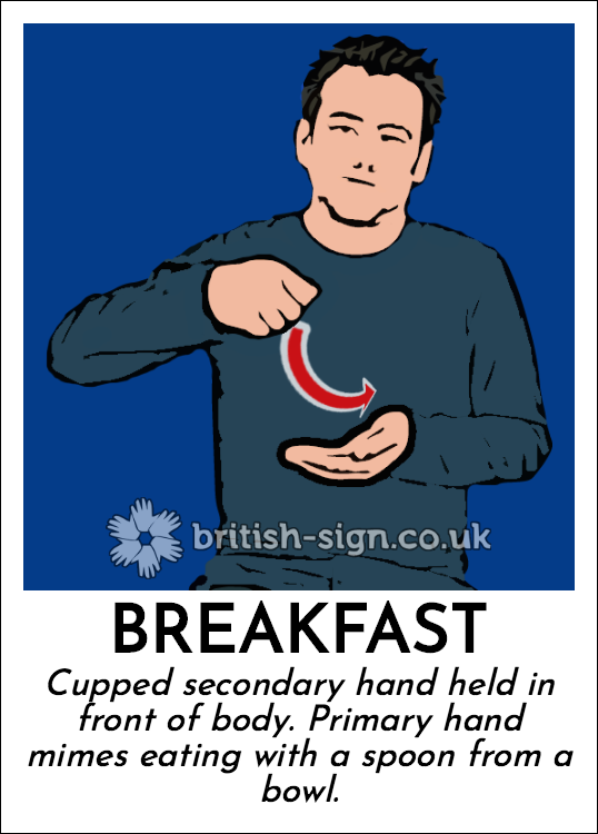 Breakfast: Cupped secondary hand held in front of body. Primary hand mimes eating with a spoon from a bowl.