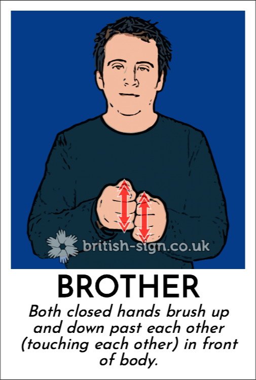 Brother: Both closed hands brush up and down past each other (touching each other) in front of body.