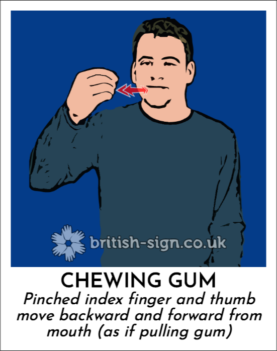 Chewing Gum: Pinched index finger and thumb move backward and forward from mouth (as if pulling gum)