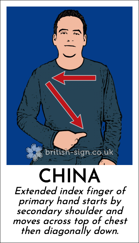 China: Extended index finger of primary hand starts by secondary shoulder and moves across top of chest then diagonally down.