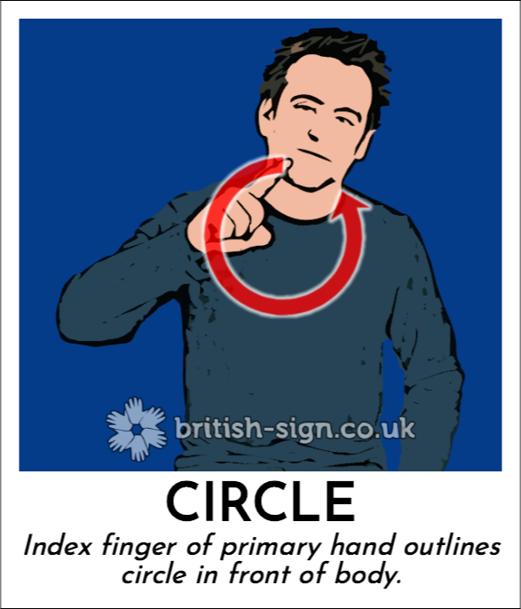 Circle: Index finger of primary hand outlines circle in front of body.