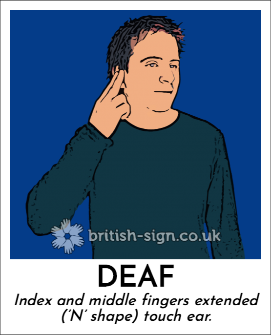 Deaf: Index and middle fingers extended ('N' shape) touch ear.