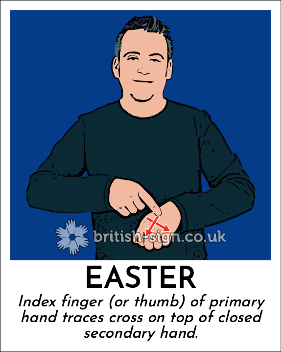 Easter: Index finger (or thumb) of primary hand traces cross on top of closed secondary hand.