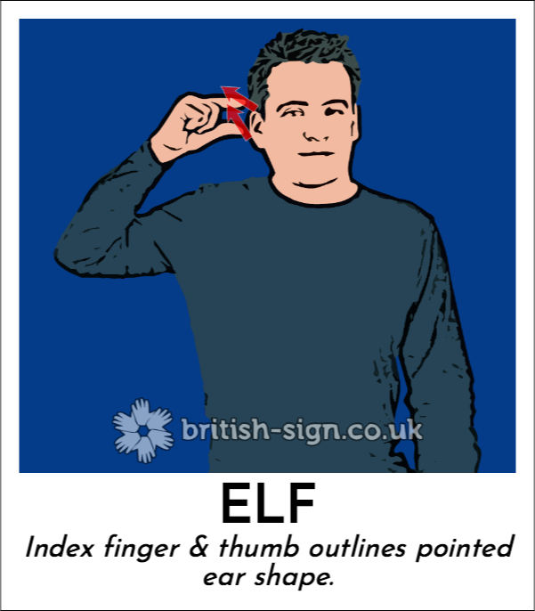 Elf: Index finger & thumb outlines pointed ear shape.