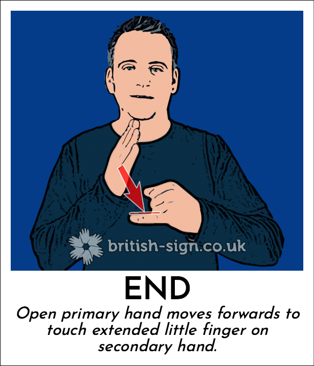 End: Open primary hand moves forwards to touch extended little finger on secondary hand.
