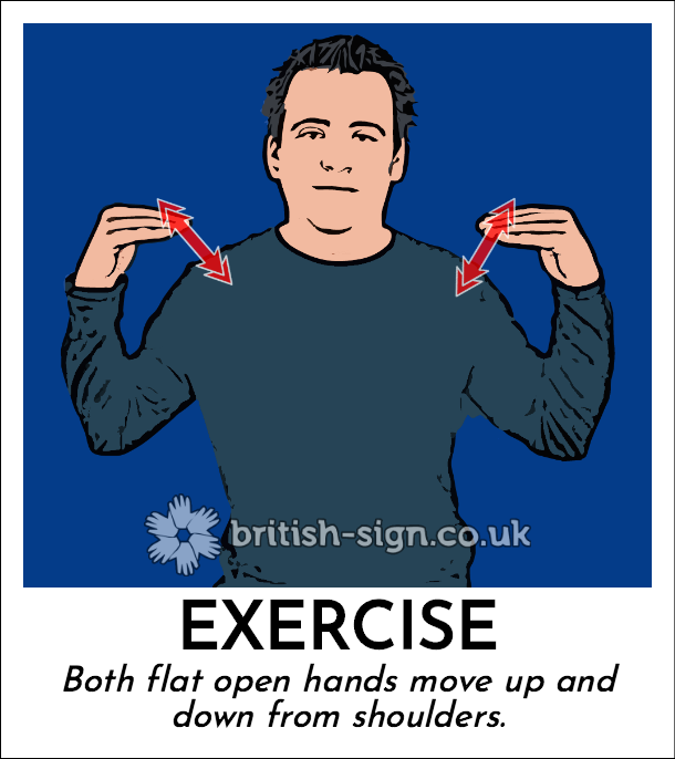 Exercise: Both flat open hands move up and down from shoulders.