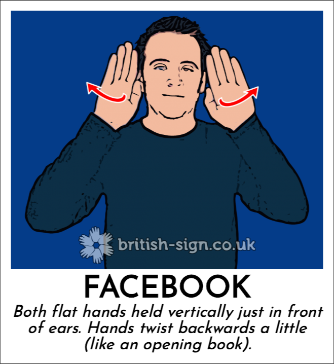 Facebook: Both flat hands held vertically just in front of ears.  Hands twist  backwards a little (like an opening book).