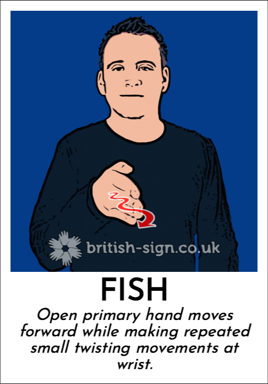 Fish: Open primary hand moves forward while making repeated small twisting movements at wrist.