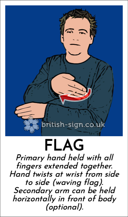 Flag: Primary hand held with all fingers extended together.  Hand twists at wrist from side to side (waving flag).  Secondary arm can be held horizontally in front of body (optional).