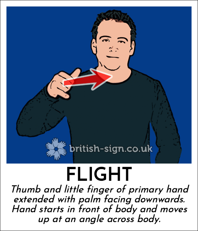 Flight: Thumb and little finger of primary hand extended with palm facing downwards.  Hand starts in front of body and moves up at an angle across body.