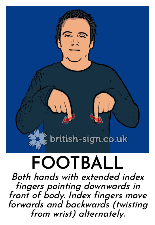 Football: Both hands with extended index fingers pointing downwards in front of body.  Index fingers move forwards and backwards (twisting from wrist) alternately.