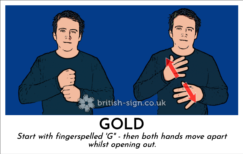 "Gold: Start with fingerspelled 'G"" - then both hands move apart  whilst opening out."