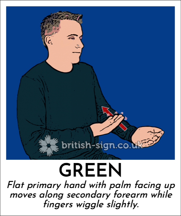 Green: Flat primary hand with palm facing up moves along secondary forearm while fingers wiggle slightly.