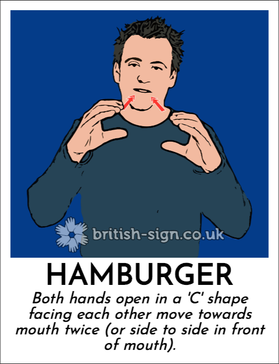 Hamburger: Both hands open in a 'C' shape facing each other move towards mouth twice (or side to side in front of mouth).