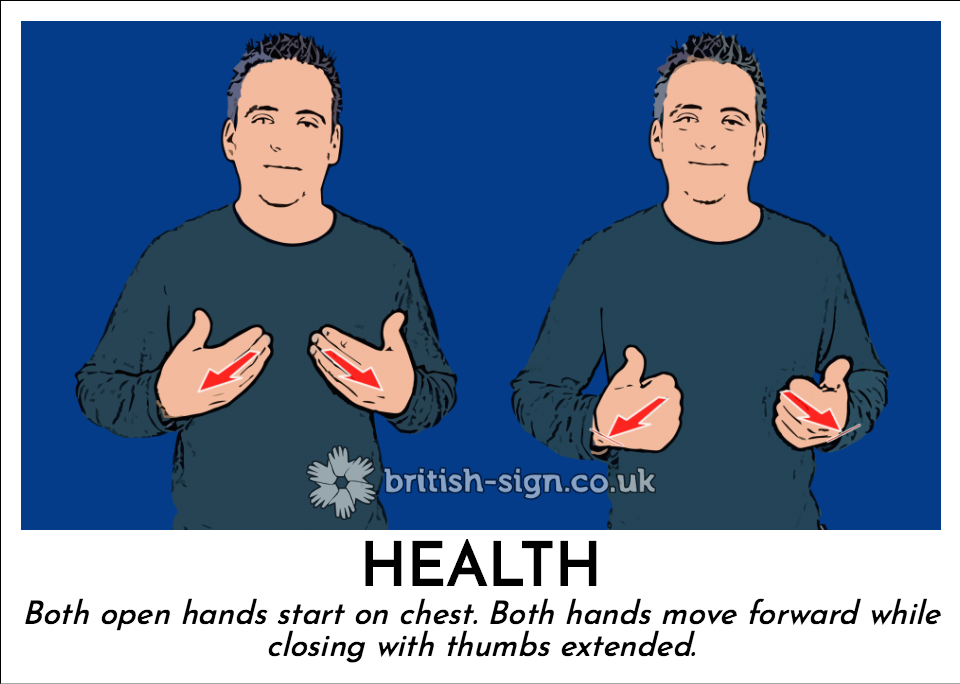 Health: Both open hands start on chest. Both hands move forward while closing with thumbs extended.