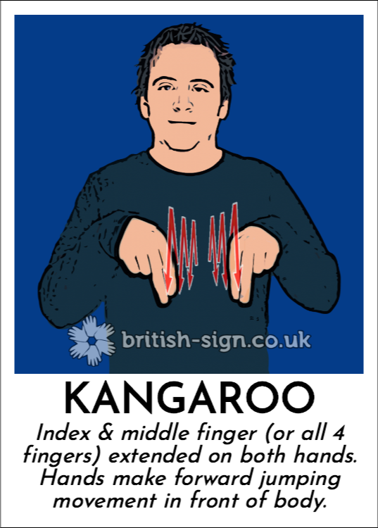 Kangaroo: Index & middle finger (or all 4 fingers) extended on both hands.  Hands make forward jumping movement in front of body.