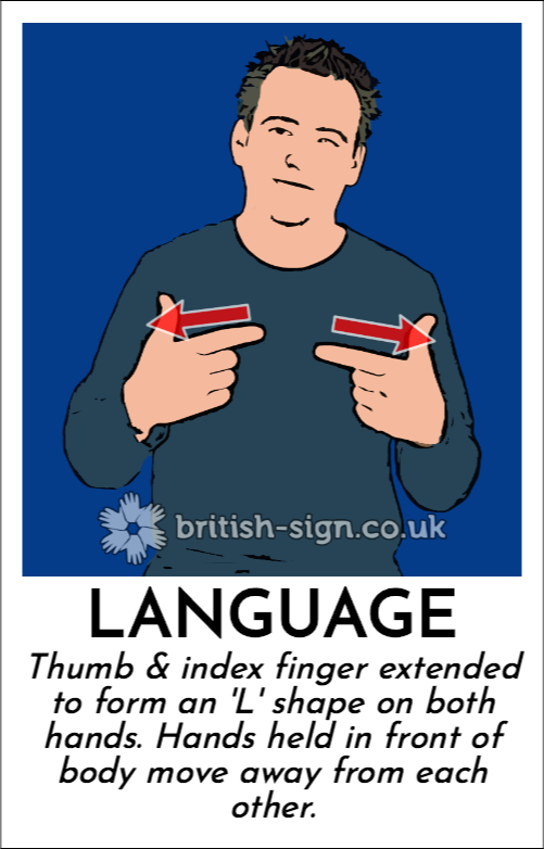 Language: Thumb & index finger extended to form an 'L' shape on both hands.  Hands held in front of body move away from each other.
