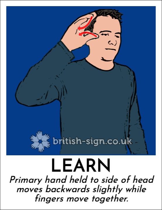 Learn: Primary hand held to side of head moves backwards slightly while fingers move together.