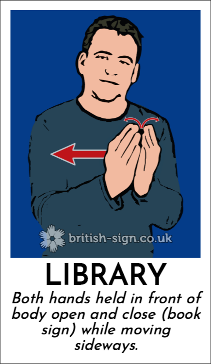 Library: Both hands held in front of body open and close (book sign) while moving sideways.