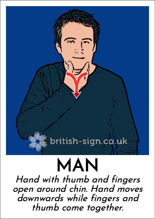 Man: Hand with thumb and fingers open around chin.  Hand moves downwards while fingers and thumb come together.