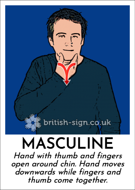 Masculine: Hand with thumb and fingers open around chin.  Hand moves downwards while fingers and thumb come together.