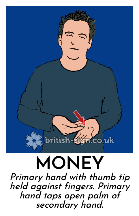 Money: Primary hand with thumb tip held against fingers. Primary hand taps open palm of secondary hand.