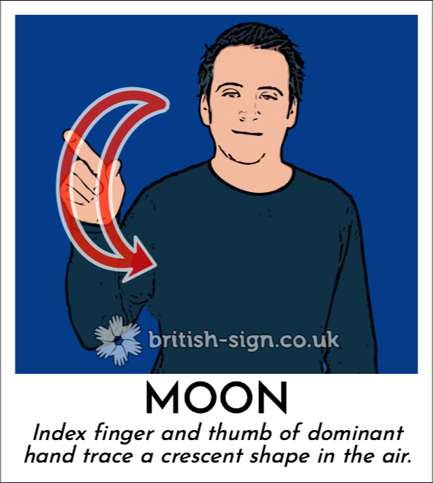 Moon: Index finger and thumb of dominant hand trace a crescent shape in the air.