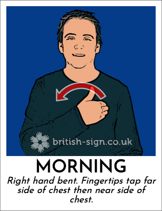 Morning: Right hand bent. Fingertips tap far side of chest then near side of chest.