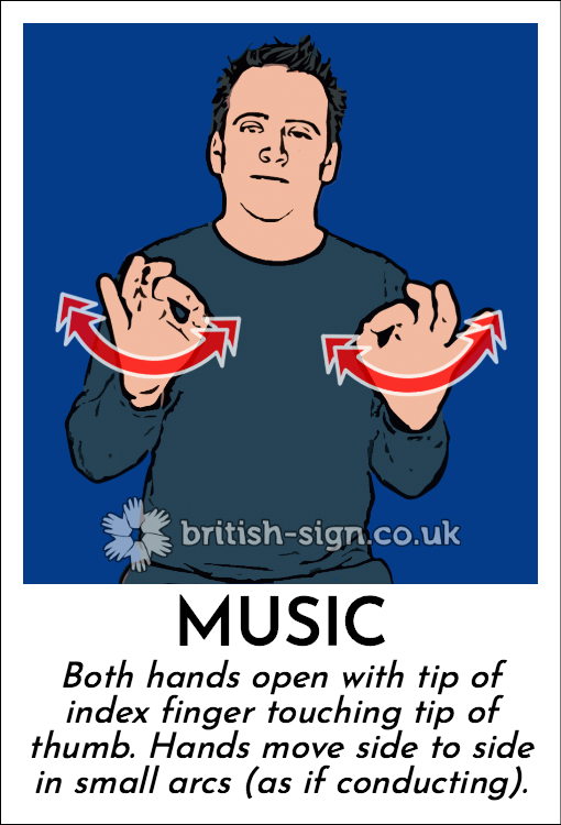 Music: Both hands open with tip of index finger touching tip of thumb. Hands move side to side in small arcs (as if conducting).