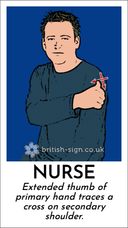 Nurse: Extended thumb of primary hand traces a cross on secondary shoulder.