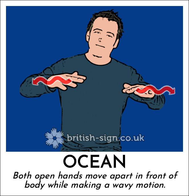 Ocean: Both open hands move apart in front of body while making a wavy motion.