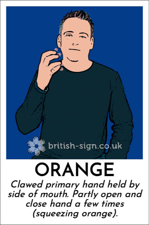 Orange: Clawed primary hand held by side of mouth.  Partly open and close hand a few times (squeezing orange).