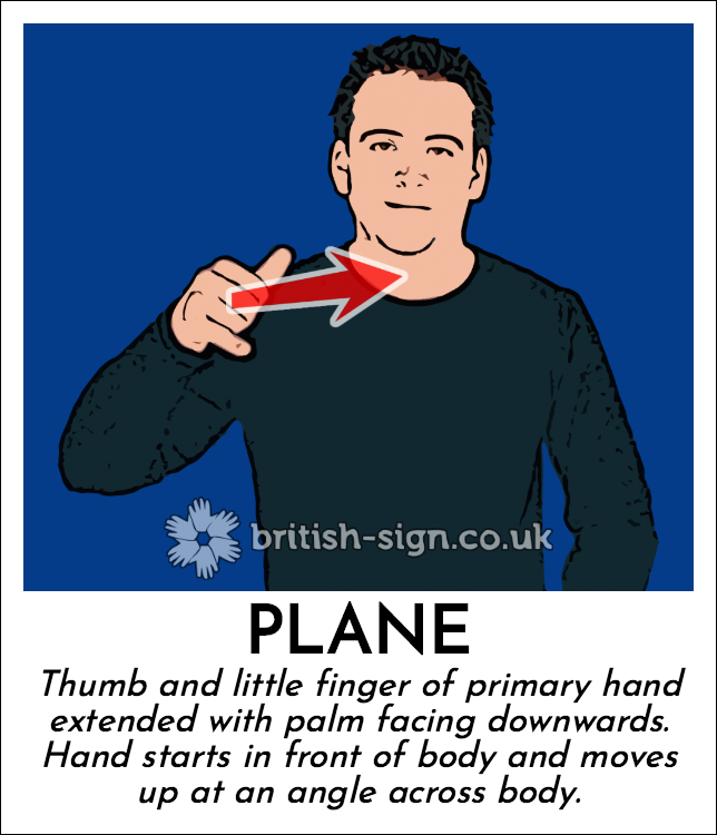 Plane: Thumb and little finger of primary hand extended with palm facing downwards.  Hand starts in front of body and moves up at an angle across body.