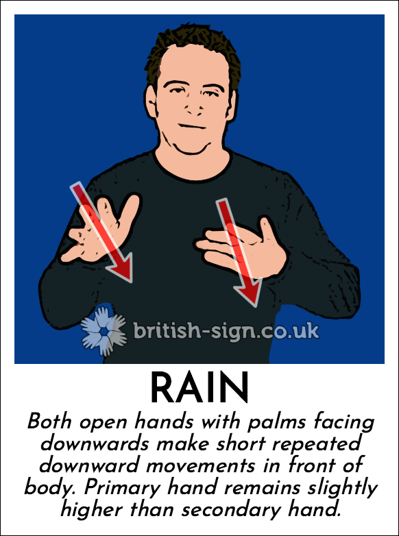 Rain: Both open hands with palms facing downwards make short repeated downward movements  in front of body. Primary hand remains slightly higher than secondary hand.