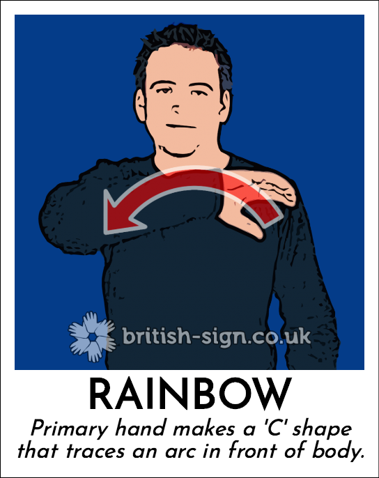 Rainbow: Primary hand makes a 'C' shape that traces an arc in front of body.