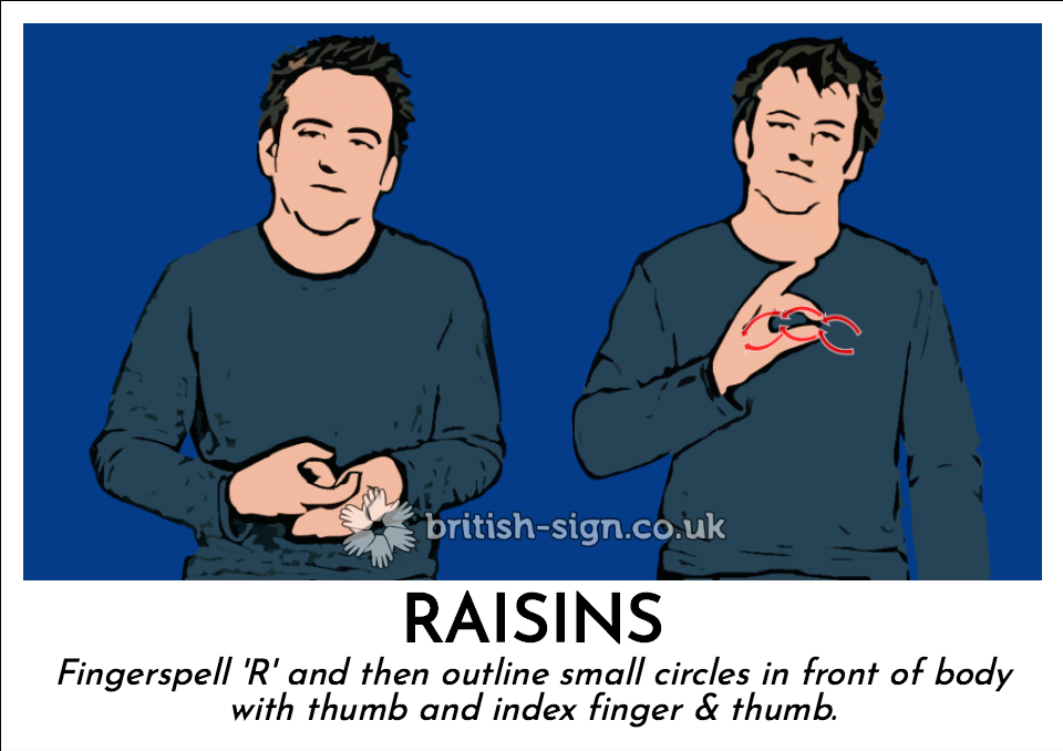 Raisins: Fingerspell 'R' and then outline small circles in front of body with thumb and index finger & thumb.