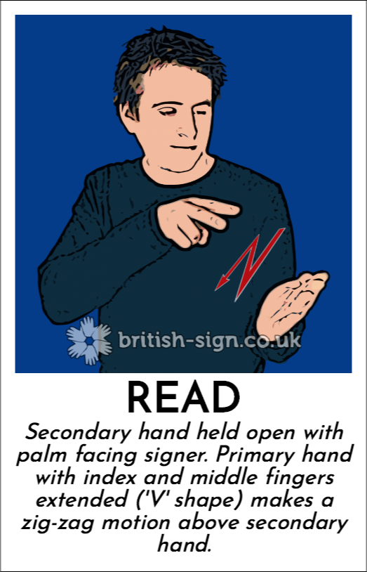 Read: Secondary hand held open with palm facing signer.  Primary hand with index and middle fingers extended ('V' shape) makes a zig-zag motion above secondary hand.