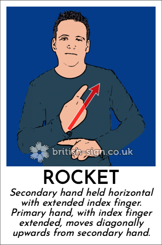 Rocket: Secondary hand held horizontal with extended index finger. Primary hand, with index finger extended, moves diagonally upwards from secondary hand.