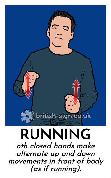 Running: oth closed hands make alternate up and down movements in front of body (as if running).