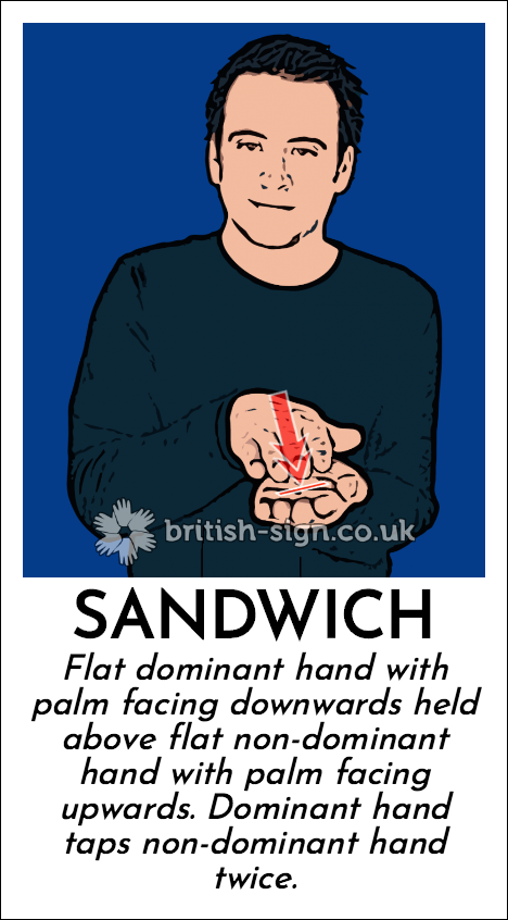 Sandwich: Flat dominant hand with palm facing downwards held above flat non-dominant hand with palm facing upwards.  Dominant hand taps non-dominant hand twice.