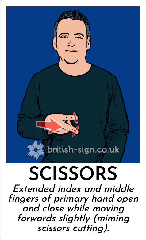 Scissors: Extended index and middle fingers of primary hand open and close while moving forwards slightly (miming scissors cutting).
