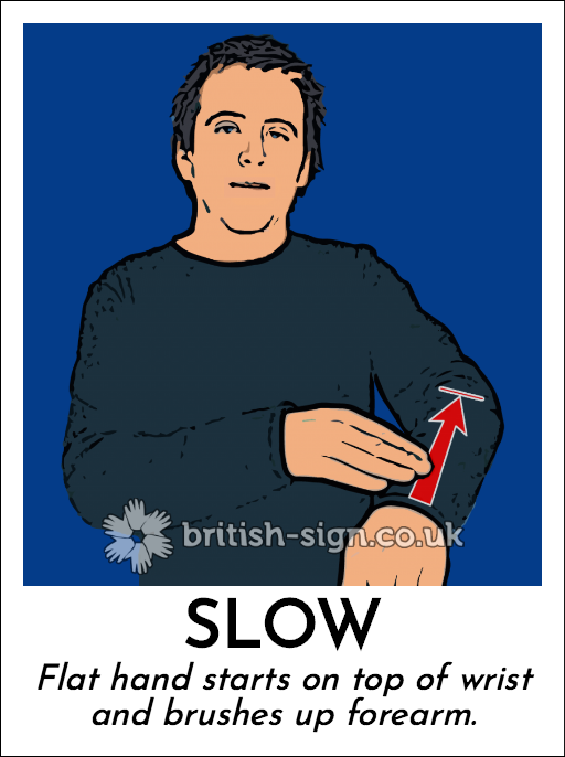 Slow: Flat hand starts on top of wrist and brushes up forearm.