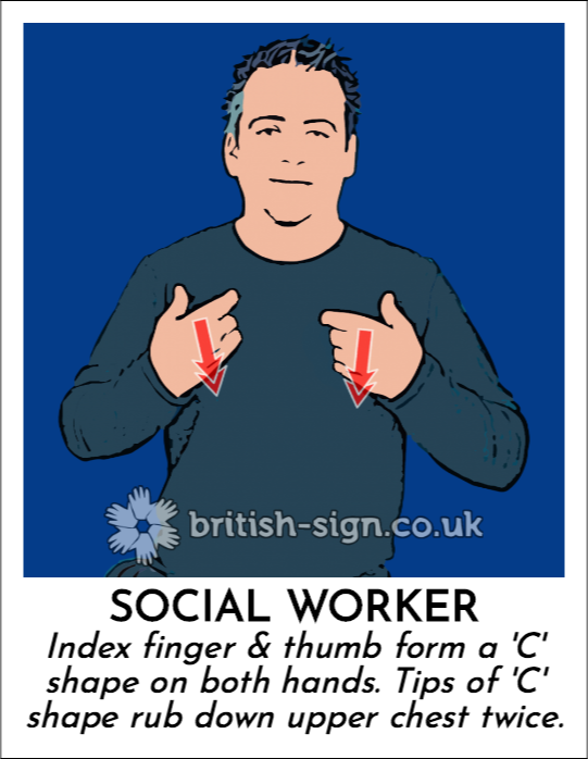 Social Worker: Index finger & thumb form a 'C' shape on both hands.  Tips of 'C' shape rub down upper chest twice.