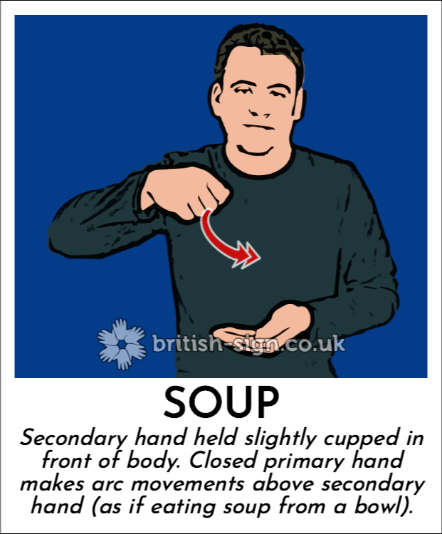 Soup: Secondary hand held slightly cupped in front of body. Closed primary hand makes arc movements above secondary hand (as if eating soup from a bowl).